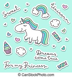 unicorn with rainbow, clouds and sweets