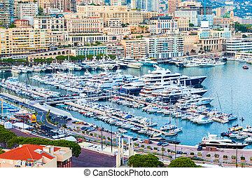 View of Port Hercule, Monaco-Ville, Cote d'Azur. - Cityscape...