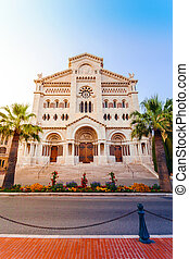 Monaco Cathedral in the sunset. - Exterior of the Monaco...