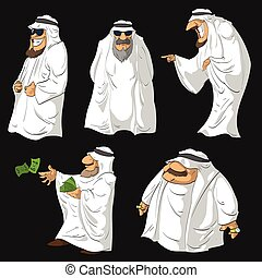 Cartoon Arab Sheikhs - Set of vector illustrations of...