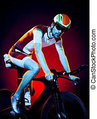サイクリスト,  Triathlon, サイクリング, 隔離された, 自転車, 人