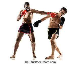 kickboxing kickboxer boxing men isolated - one caucasian...
