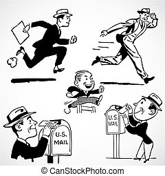 Vector Vintage Running Businessmen - Vintage vector...