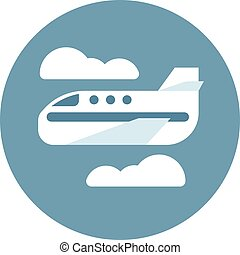 Digital vector aeroplane in blue circle