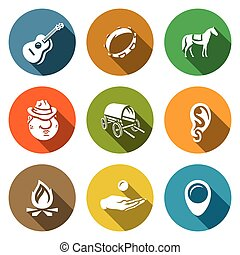 Vector Set of Gypsy Camp Icons Guitar, Tambourine, Horse,...