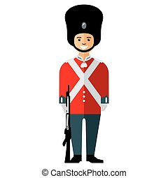 Vector British guardsman. Flat style colorful Cartoon...