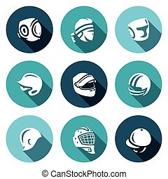 Vector Set of Sports hat, cap and headband Icons. Kudo, Muay...