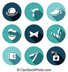 Vector Set of Gentleman Icons. Bowler, Cane, Shoes,...
