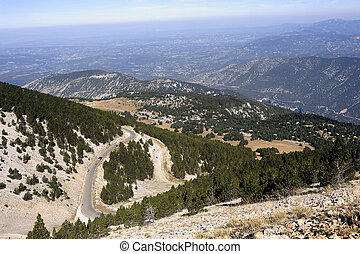 access road to the summit of Mount Ventoux view from the top...