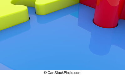 Puzzle pieces in various colors in circle