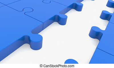 Puzzle pieces in blue color with one between red