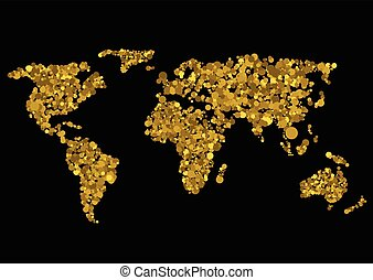Golden world map Abstract earth, Vector illustration