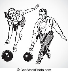 vecteur, vendange, bowling, couple