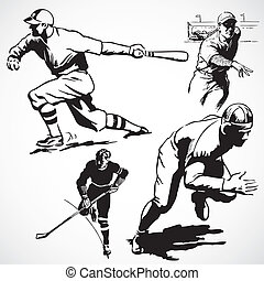 Vector Vintage Athletes - Vintage vector advertising...