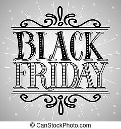 Black Friday Sale vector Background. Hand Lettered Text with...