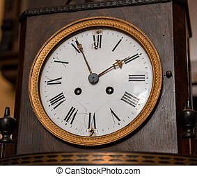 Vintage antique clock face closeup