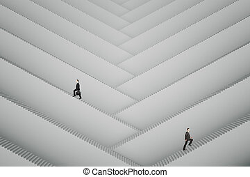 Businesspeople climbing stairs - Businesspeople climbing...