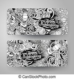 Cartoon vector hand-drawn Doodle Happy Thanksgiving Day...