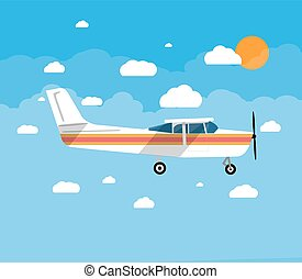 Small airplane in air with sky, clouds and sun - Small...