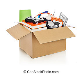 Moving box - Box full of household stuff, white background