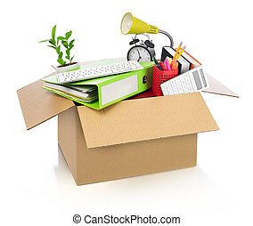 Moving office - Box full of office stuff, white background