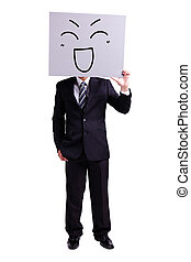 businessman holding happy expression billboard with isolated...
