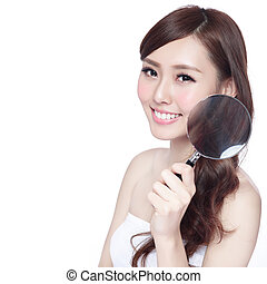 Beauty woman take magnifying - Beauty woman with charming...
