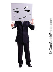 businessman holding smile expression billboard - businessman...