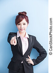 business woman pointing to you - business woman is smile and...
