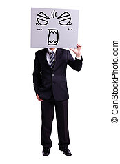 businessman holding angry expression billboard and thumb up...