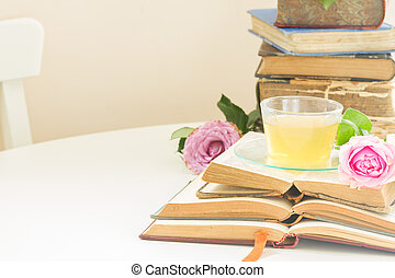Cup of tea with books - Cup of tea in glass with old books...