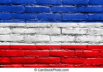 Flag of Schleswig-Holstein, Germany, painted on brick wall