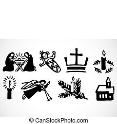 Vector Christmas Ornaments - Nativity elements, including...