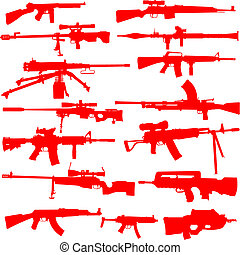 Vector Set of Guns - Set of detailed gun outlines. Easy to...