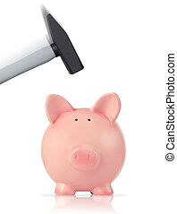 Bankruptcy concept - Piggy bank and hammer, white background