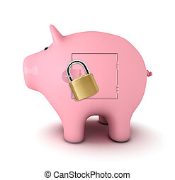 Safe savings - Piggy bank with padlock, white background