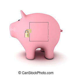 Piggy bank with padlock, white background