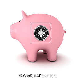 Piggy bank with combination lock, white background