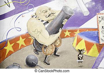Man circus cannon - Man firing gun drawn circus wall art