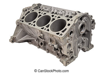 Internal combustion engine after powder coating on white...