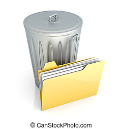 Trashed document - 3D rendered Illustration. Isolated on...