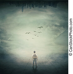 in the end - Surrealistic image with a man standing in a...