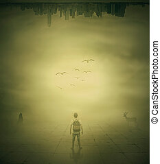 Surrealistic image with a man standing in a foggy street...