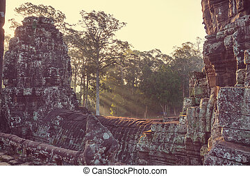 Bayon - Stone faces of ancient Khmer culture temple of Bayon...