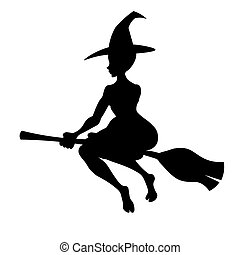 Witch on a broom, Vector black silhouette witch flying to...