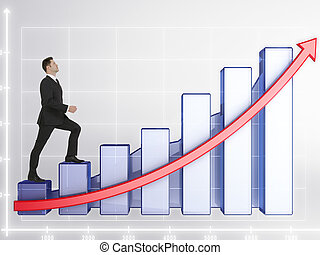Success concept - Young businessman climbing abstract...