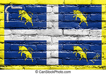 Flag of Turin, Italy, painted on brick wall