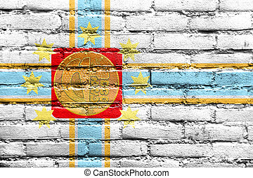 Flag of Tbilisi, Georgia, painted on brick wall