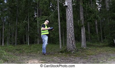 Environmental inspector at the bird home in the forest