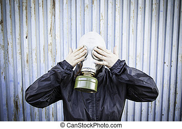 Sick Gas Mask - Woman with hooded gas mask, fear halloween